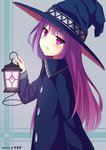 1girl bangs blue_dress blue_hat blush candle collared_dress commentary_request dress eyebrows_visible_through_hair hat head_tilt holding holding_lantern kaie lantern long_hair long_sleeves looking_at_viewer looking_to_the_side original parted_lips purple_eyes purple_hair solo very_long_hair witch witch_hat
