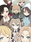 6+girls anchovy anzio_military_uniform bandages bangs black_hair blonde_hair blue_eyes blunt_bangs boko_(girls_und_panzer) breasts brown_eyes brown_hair chi-hatan_military_uniform cleavage collarbone commentary darjeeling drill_hair fang girls_und_panzer green_hair hair_ribbon hand_on_another's_head hand_on_hip hand_up hat jumpsuit katyusha kay_(girls_und_panzer) keizoku_military_uniform kuromorimine_military_uniform light_brown_hair long_hair looking_at_viewer mika_(girls_und_panzer) miyao_ryuu multiple_girls nishi_kinuyo nishizumi_maho one_eye_closed open_mouth pants_tucked_in pleated_skirt pravda_school_uniform red_eyes red_skirt ribbon school_uniform selection_university_military_uniform shimada_arisu short_hair side_ponytail simple_background skin_fang skirt smile teeth thighs tied_hair twin_drills v v-shaped_eyebrows wavy_hair white_background