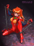 1girl bdsm blue_eyes bodysuit bondage bound long_hair neon_genesis_evangelion orange_hair plugsuit rope shibata_masahiro solo souryuu_asuka_langley spreader_bar