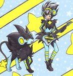 1girl animal_ears black_hair blue_legwear breasts chikorita85 electric_guitar eye_contact fake_animal_ears gloves green_eyes guitar instrument long_sleeves looking_at_another luxray moemon personification pokemon pokemon_(creature) pokemon_(game) pokemon_dppt shoes small_breasts smile spiked_hair standing star starry_background striped striped_legwear traditional_media