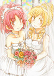 2girls alternate_hairstyle blonde_hair breasts dress drill_hair fang flower jewelry mahou_shoujo_madoka_magica multiple_girls necklace red_eyes red_hair sakura_kyouko takeshisu tomoe_mami wedding_dress wife_and_wife yellow_eyes yuri