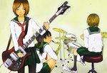 3girls bass_guitar black_eyes black_hair black_legwear breasts brown_hair closed_mouth commentary_request cymbals drum drum_set drumsticks from_behind green_sailor_collar green_skirt hair_tie hi-hat holding holding_instrument holding_plectrum instrument kneehighs kneeling long_hair long_sleeves low_twintails medium_breasts multiple_girls neckerchief no_shoes on_stool original pantyhose pedal pleated_skirt plectrum profile red_neckwear sailor_collar saxophone school_uniform serafuku short_hair sitting skirt snare_drum standing stool twintails yellow_background yokotakumi