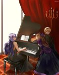 1boy 2girls artist_name backless_dress backless_outfit bangs black_cape black_dress black_shirt blonde_hair bow brother_and_sister camilla_(fire_emblem_if) candlestand cape capelet chocojax closed_eyes colored_eyelashes crossed_arms curtains dress elise_(fire_emblem_if) facing_away facing_viewer fire_emblem fire_emblem_heroes hair_between_eyes hair_bow hair_over_one_eye head_in_hand highres indoors instrument layered_dress leaning_on_object leon_(fire_emblem_if) long_dress long_hair long_ponytail long_sleeves looking_at_another multiple_girls music piano piano_bench playing_instrument playing_piano ponytail purple_capelet purple_eyes purple_hair sheet_music shirt siblings sisters sitting smile strapless strapless_dress swept_bangs tile_floor tiles very_long_hair watermark web_address window