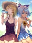 2girls bare_arms bare_shoulders blonde_hair blue_bow blue_dress blue_eyes blue_hair bow bright_pupils cirno collarbone commentary_request dress drinking flower food hair_bow hair_ribbon hat highres ice ice_wings long_hair moriya_suwako multiple_girls popsicle purple_skirt ramune red_ribbon ribbon short_dress short_hair sidelocks sitting skirt skirt_set straw_hat summer sunflower sweat tan tanned_cirno touhou tress_ribbon uu_uu_zan vest watermelon_bar wings yellow_eyes