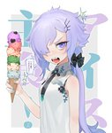 1girl absurdres bare_arms bare_shoulders black_bow black_neckwear blue_nails bow breasts fangs food from_side hair_bow hair_ornament hair_over_one_eye hairclip heart highres holding holding_food ice_cream ice_cream_cone lavender_hair long_hair looking_at_viewer looking_to_the_side low_ponytail nail_art nail_polish necktie ohisashiburi open_mouth original print_shirt purple_eyes shiny shiny_hair shirt shouting sidelocks signature sleeveless sleeveless_shirt small_breasts solo sparkle speech_bubble standing talking too_many too_many_scoops translation_request upper_body v-shaped_eyebrows waffle_cone white_background white_shirt wing_collar