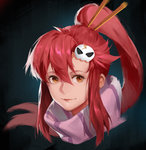 1girl bangs closed_mouth commentary_request face hair_between_eyes hair_ornament hairpin highres looking_at_viewer orange_eyes portrait red_hair scarf sidelocks simple_background skull_hair_ornament smile sola7764 solo tengen_toppa_gurren_lagann yoko_littner