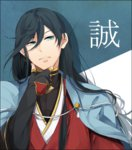 1boy ajo_(souya_96) black_hair blue_eyes chin_rest highres izumi-no-kami_kanesada japanese_clothes long_hair solo touken_ranbu