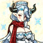 1girl blue_hair blush breasts draph granblue_fantasy hat horns izmir large_breasts long_hair mole mole_under_mouth nyama_(12060517) pointy_ears red_eyes scarf snowflakes