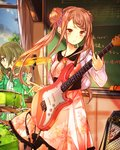 2girls absurdres brown_eyes brown_hair chalkboard classroom cloud cowboy_shot day dress floating_hair green_hair guitar hair_between_eyes hair_ornament highres holding holding_instrument indoors instrument kishida_mel long_hair multiple_girls musical_note school_fanfare smile standing twintails window