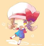 1girl ;d blush bow brown_background brown_eyes brown_hair cabbie_hat chibi collared_shirt full_body hat hat_bow kotone_(pokemon) kouu_hiyoyo long_hair long_sleeves one_eye_closed open_mouth outstretched_arm overall_shorts pointing pokemon pokemon_(game) pokemon_hgss red_bow red_footwear red_shirt shirt smile solo star thighhighs twitter_username white_hat white_legwear