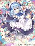 1girl :d ange_vierge animal_ears apron black_footwear black_gloves blue_bow blue_eyes blue_hair blush bow card cat_ears cat_tail chain company_name copyright_name detached_sleeves flower full_body gloves hair_bow long_hair maid official_art omega_47_toto open_mouth playing_card rose shamonor smile tail watch white_legwear wide_sleeves