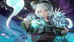 1girl aqua_eyes aqua_nails bangs black_shirt black_skirt character_name childwolf chinese_commentary clothes_writing commentary_request cropped_jacket embellished_costume energy eyebrows_visible_through_hair flower flower_request hair_flower hair_ornament hair_ribbon hand_on_hilt highres holding holding_sheath jacket katana konpaku_youmu konpaku_youmu_(ghost) light_particles light_trail long_sleeves looking_down mixed-language_commentary nail_polish night obi open_clothes open_jacket outdoors parted_lips petals pleated_skirt ribbon sash scabbard sheath shirt short_hair silver_hair skirt solo standing sword touhou unsheathing upper_body weapon