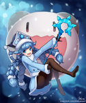 1girl :d absurdres alternate_costume alternate_skin_color black_gloves black_legwear blue_eyes braid gloves hat highres holding holding_staff league_of_legends lee-seok_ho long_hair looking_at_viewer low-tied_long_hair lulu_(league_of_legends) naver_username no_shoes open_mouth pantyhose poro_(league_of_legends) signature smile staff twin_braids twintails watermark web_address winter_wonder_lulu yordle