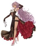 1girl arm_behind_head armpits black_gloves blue_eyes bored breasts brown_dress brown_leg_garter center_opening china_dress chinese_clothes cinderella_(sinoalice) cross-laced_clothes cuffs curly_hair dark_skin disdain dress earrings elbow_gloves floral_print frilled_dress frills full_body glass_slipper gloves glowing hair_over_one_eye hand_in_hair highres holding jewelry leg_garter long_dress long_hair looking_at_viewer medium_breasts necklace ojo_aa ornament parted_lips pelvic_curtain purple_hair red_frills shackles shiny shiny_skin side_slit sinoalice solo thighs very_long_hair walking white_background