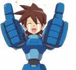 1boy aka_(s3637) brown_hair closed_eyes male_focus open_mouth rock_volnutt rockman rockman_dash smile solo sparkle tears thumbs_up