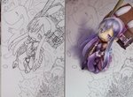1girl book cloud comparison drawing foreshortening hairband highres looking_at_viewer minigirl nib_pen_(object) open_mouth original pen purple purple_eyes purple_hair sidelocks smile tsukushi_akihito