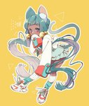 1girl animal_ear_fluff animal_ears bangs bell blue_legwear blush cat_ears cat_girl cat_tail commentary covered_mouth dark_skin dress frilled_dress frills full_body green_dress green_hair hair_bell hair_ornament highres jacket jingle_bell long_hair long_sleeves multicolored_hair nachoz_(natsukichann) original outline purple_eyes purple_hair shoes sleeves_past_fingers sleeves_past_wrists sneakers solo symbol_commentary tail tail_raised twintails two-tone_hair very_long_hair white_footwear white_jacket white_legwear white_outline yellow_background
