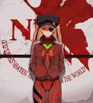 1girl animal_ears animal_hat ass_visible_through_thighs badge bangs black_hat blue_eyes bodysuit bodysuit_under_clothes breasts breasts_apart button_badge cabbie_hat closed_mouth commentary cowboy_shot english evangelion:_3.0_you_can_(not)_redo eyebrows_visible_through_hair eyepatch fake_animal_ears frown hair_between_eyes hands_in_pockets hat hat_ornament hat_pin highres hona_(pixiv7939518) honeycomb_(pattern) jacket long_hair long_sleeves looking_at_viewer medium_breasts neon_genesis_evangelion nerv number one_eye_covered open_clothes open_jacket orange_hair parted_bangs pilot_suit plugsuit pocket rebuild_of_evangelion red_bodysuit red_jacket shaded_face shikinami_asuka_langley single_vertical_stripe solo souryuu_asuka_langley standing straight_hair tape turtleneck two_side_up unzipped v-shaped_eyebrows zipper zipper_pull_tab