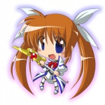 1girl bibi bow brown_hair chibi hair_ribbon long_hair lyrical_nanoha mahou_shoujo_lyrical_nanoha purple_eyes raising_heart ribbon solo takamachi_nanoha twintails very_long_hair