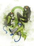 3girls black_hair boots coat dual_persona fang fangs green_eyes grey_skin highres homestuck horns leo long_hair meulin_leijon multiple_girls nepeta_leijon open_mouth oversized_clothes sharp_teeth short_hair sitting smile tail teeth the_disciple ti9931 torn_clothes troll_(homestuck) turtleneck very_long_hair white_eyes yellow_sclera