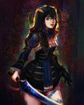 1girl black_hair bloodstained:_ritual_of_the_night blue_eyes breasts brown_hair detached_sleeves gauntlets gradient_hair hair_between_eyes hair_ornament highres horns looking_at_viewer miriam_(bloodstained) mordra multicolored_hair pale_skin short_hair solo stained_glass sword tattoo weapon