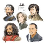 1girl 5boys :3 aqua_eyes bangs baze beard black_eyes black_hair blind bodhi_rook brown_hair buzz_cut cassian_andor chirrut closed_mouth copyright_name cropped_torso facial_hair goggles goggles_on_head green_eyes grin hair_bun hair_slicked_back humanoid_robot jyn_erso k-2so looking_at_viewer looking_away matsuri6373 medium_hair multiple_boys no_pupils parted_bangs parted_lips robot rogue_one:_a_star_wars_story science_fiction sidelocks signature simple_background sketch smile star_wars swept_bangs waving_arm wavy_hair white_background