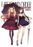 2girls ask_(askzy) bangs bare_shoulders bell black_footwear black_gloves black_hair blonde_hair blush breasts bridal_gauntlets brown_dress brown_legwear character_name choker cross cross_earrings detached_sleeves dress earrings ereshkigal_(fate/grand_order) fate/grand_order fate_(series) full_body gloves hair_ribbon hat headdress high_heels holding holding_umbrella hoop_earrings ishtar_(fate/grand_order) jewelry long_hair looking_at_viewer mary_janes mini_hat multiple_girls necklace parted_bangs purple_dress red_dress red_eyes ribbon shoes simple_background smile star star_earrings thighhighs thighs two_side_up umbrella white_background