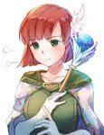 1girl closed_mouth commentary_request fire_emblem fire_emblem:_rekka_no_ken gloves green_eyes hair_ornament holding holding_staff pout priscilla_(fire_emblem) red_hair short_hair simple_background solo staff upper_body white_background white_gloves wing_hair_ornament yukimiyuki