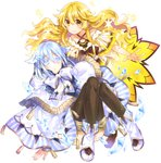 2girls absurdres ankle_boots bangs black_legwear blonde_hair blue_eyes blue_skirt boots bow capelet character_request closed_mouth collarbone convenient_leg criss-cross_halter crystal eyebrows_visible_through_hair fantasy full_body hair_between_eyes hair_flaps hair_ornament halterneck highres ice knees_together_feet_apart knees_up light_blue_hair long_hair looking_at_viewer mottsun multiple_girls munou_eiyuu_no_revenge_saga official_art outstretched_hand plaid short_hair sidelocks simple_background sitting skirt smile sparkle standing striped striped_skirt tassel thighhighs vertical_stripes wavy_hair white_background white_bow white_eyelashes white_footwear yellow_eyes yellow_skirt