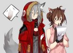 2girls ahoge animal_ear_fluff animal_ears arknights blush braid breasts brown_eyes brown_hair cat_ears cat_tail cleavage clipboard coat crown_braid deathalice doctor_(arknights) dress english_commentary eyebrows_visible_through_hair female_doctor_(arknights) fur-trimmed_hood gas_mask gloves grey_background grey_hair grey_shirt hair_between_eyes hair_bun highres hooded_coat large_breasts lips long_hair looking_at_another looking_down mask_around_neck medium_breasts medium_hair multiple_girls paper pen pen_to_mouth pink_dress projekt_red_(arknights) reading red_coat shirt simple_background sleeveless sleeveless_dress spoken_tail standing tail tail_wagging taut_clothes tight_dress turtleneck turtleneck_dress upper_body white_gloves wolf_ears wolf_tail yuri