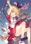 1girl alice_in_wonderland apron arms_up ass black_tea blonde_hair blue_background blush card cup dress fang flandre_scarlet gradient gradient_background hair_ribbon heart maid_apron open_mouth petals plate playing_card pocket_watch puffy_short_sleeves puffy_sleeves red_dress red_eyes ribbon rie_(reverie) saucer shoes short_sleeves side_ponytail socks solo stuffed_animal stuffed_bunny stuffed_toy tea teacup touhou upskirt watch wings