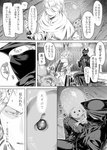 1boy 1girl 1other arizuka_(catacombe) belt bloodborne blush boots capelet cloak close-up collar collared_dress comic gloves greyscale hand_on_thigh hat highres holding hunter_(bloodborne) iosefka long_fingers long_sleeves mask monochrome needle ponytail puckered_lips robe shawl short_hair sitting sitting_on_table skirt smile speech_bubble sweatdrop syringe table tricorne wide_sleeves