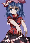 1girl blue_background blue_eyes blue_hair chinese_clothes cowboy_shot empty_eyes eyebrows_visible_through_hair flat_cap hair_between_eyes hat highres looking_to_the_side miyako_yoshika neck_ribbon ofuda open_mouth outstretched_arms ribbon ruu_(tksymkw) shirt short_hair short_sleeves simple_background skirt solo torn_clothes torn_shirt torn_skirt touhou zombie_pose