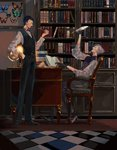 2boys absurdres black_gloves black_hair book bookshelf bug butterfly chair checkered checkered_floor desk facial_hair fate/grand_order fate_(series) globe gloves grey_hair grin hand_in_pocket highres insect james_moriarty_(fate/grand_order) multiple_boys mustache pipe quill sherlock_holmes_(fate/grand_order) sitting smile vest