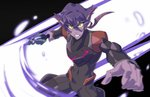 1girl absurdres alien black_hair commentary english_commentary facial_mark grey_eyes highres holding holding_sword holding_weapon ishmaiah_dado krolia multicolored_hair pointy_ears purple_eyes purple_hair purple_skin sword two-tone_hair voltron:_legendary_defender weapon yellow_sclera