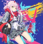 1girl bag bag_charm blush candy character_name charm_(object) copyright_name darling_in_the_franxx eyebrows_visible_through_hair eyeshadow fingernails food glint green_eyes grey_jacket grey_legwear grey_skirt holding hong_(white_spider) horns jacket lollipop long_hair long_sleeves looking_at_viewer makeup open_clothes open_jacket parted_lips pink_hair pink_nails plaid plaid_skirt red_scarf scarf school_bag school_uniform shirt shoes shoulder_bag skirt socks solo white_shirt zero_two_(darling_in_the_franxx)