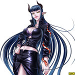 bell_ash blue_hair breasts demon_girl earrings hand_on_hip horns jewelry kagami_hirotaka large_breasts leather_jacket leather_skirt lips lipstick long_hair makeup midriff multiple_piercings nail_polish navel omc pointy_ears snake succubus tokyo_kaidan yellow_eyes