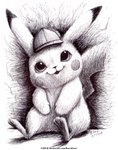 2018 absurdres commentary creature dated detective_pikachu detective_pikachu_(movie) english_commentary full_body greyscale happy hat highres huge_filesize monochrome no_humans pikachu pokemon pokemon_(creature) ravenevert signature sitting smile solo traditional_media watermark web_address