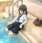 1girl arm_support black_air black_eyes black_skirt blouse blue_neckwear brown_footwear commentary_request hair_tie juice_box ladder leaning_back loafers medium_skirt neckerchief open_mouth original pleated_skirt ponytail pool pool_ladder poolside school_uniform serafuku shoes shoes_removed short_sleeves sitting skirt smile soaking_feet solo tessaku_ro wet wet_clothes white_blouse