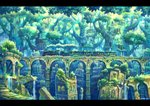 aqueduct artist_name bridge building canopy cityscape commentary_request day fantasy grass ground_vehicle kemi_neko letterboxed light_rays locomotive moss nature no_humans original outdoors overgrown railroad_tracks ruins scenery signature stairs steam steam_locomotive train tree tree_shade treehouse water waterfall window