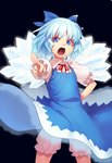 1girl black_background bloomers blue_bow blue_dress blue_eyes blue_hair bow cirno commentary_request cowboy_shot dress eyebrows_visible_through_hair foreshortening glowing glowing_wings hair_bow hand_on_hip ice ice_wings kaiza_(rider000) looking_at_viewer neck_ribbon open_mouth pinafore_dress pointing pointing_at_viewer puffy_short_sleeves puffy_sleeves red_neckwear red_ribbon ribbon shirt short_hair short_sleeves simple_background solo standing touhou underwear v-shaped_eyebrows white_shirt wing_collar wings