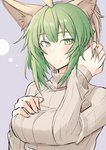 1girl adjusting_hair ahoge alternate_hair_length alternate_hairstyle animal_ears atalanta_(fate) breasts cat_ears closed_mouth commentary_request eyebrows_visible_through_hair fate/apocrypha fate_(series) gradient_hair green_eyes green_hair hair_between_eyes light_smile medium_breasts multicolored_hair nahu ribbed_sweater short_hair sketch smile solo sweater turtleneck turtleneck_sweater upper_body