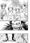 2boys 4girls character_request comic crossover death_note hidamari_sketch highres hiro miyako monochrome multiple_boys multiple_girls ryuk sae translated yoshitani_motoka yuno
