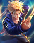 1boy blonde_hair blue_eyes blue_jacket capsule_corp dragon_ball dragon_ball_z foreshortening jacket male_focus sakimichan short_hair solo spiked_hair super_saiyan sword trunks_(dragon_ball) watermark weapon web_address