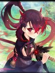 1girl :t alternate_costume artist_request bell blush breasts cleavage cleavage_cutout drawing_sword eyeshadow fiery_hair hair_between_eyes holding holding_sword holding_weapon horn_ornament horns japanese_clothes katana makeup muramasa_(phantom_of_the_kill) official_art phantom_of_the_kill ponytail ponytail_holder pout purple_hair saya_(scabbard) scabbard sheath snakeskin sword weapon