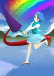 absurdres blue_eyes blue_hair geta heterochromia highres karakasa_obake nickel_pass red_eyes short_hair skirt tatara_kogasa tongue touhou umbrella