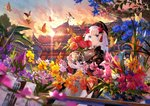 1girl absurdres architecture blue_eyes blue_flower bug building butterfly closed_mouth cloud east_asian_architecture floral_print flower fuji_choko hair_flower hair_ornament highres holding huge_filesize insect long_hair looking_at_viewer mole mole_under_eye orange_flower original outdoors pink_flower purple_flower sky solo sunset vase water weather_vane white_hair yellow_flower