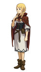 1girl absurdres ankle_boots arm_up bangs belt blonde_hair blue_eyes boots braid cape clenched_hand corset dress gyakuten_saiban hand_on_own_chest highres long_hair mahoney_katalucia nuri_kazuya official_art parted_bangs professor_layton professor_layton_vs._gyakuten_saiban ribbon short_hair solo twin_braids