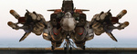 aircraft airplane cannon cockpit engineer headgear jet jumpsuit macross macross_frontier mecha missile no_humans ocean radiation_symbol realistic robographer science_fiction variable_fighter vf-25 water weapon