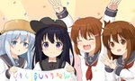 4girls :d ^_^ akatsuki_(kantai_collection) anchor_symbol arms_up bangs black_hair black_headwear black_sailor_collar blue_eyes blue_hair blush brown_eyes brown_hair chestnut_mouth closed_eyes closed_mouth commentary_request confetti double_w eyebrows_visible_through_hair fang flat_cap hair_between_eyes hair_ornament hairclip hat hibiki_(kantai_collection) holding ikazuchi_(kantai_collection) inazuma_(kantai_collection) kantai_collection long_hair miicha multiple_girls neckerchief open_mouth parted_lips pot_on_head purple_eyes red_neckwear remodel_(kantai_collection) sailor_collar school_uniform serafuku shirt smile sunburst_background translation_request twitter_username upper_body w white_shirt